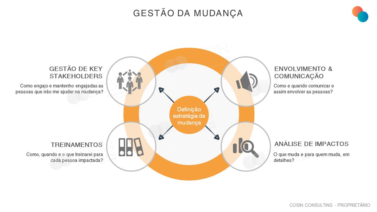Framework que ilustra a visão da Cosin Consulting sobre gestão da mudança.