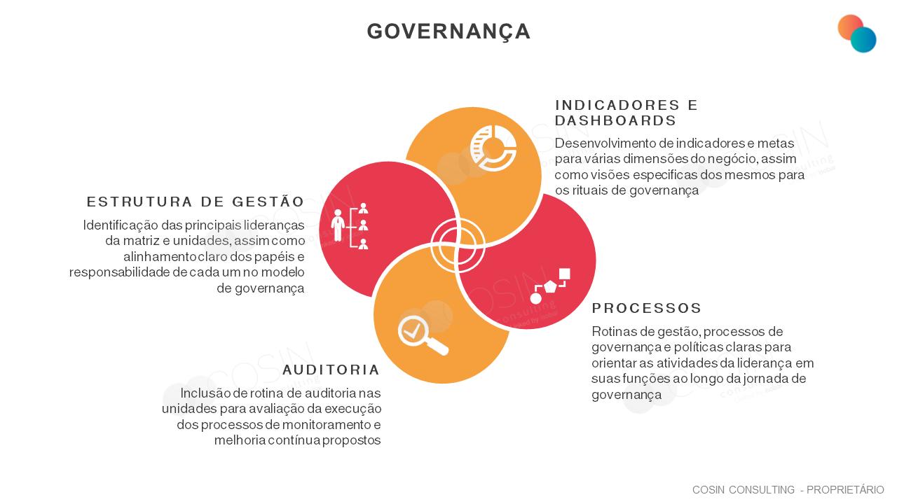 Framework que ilustra a visão da Cosin Consulting sobre governança.