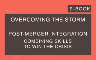 Cosin Consulting's 'Overcoming the Storm' e-Book cover on 'Post-Merger Integration