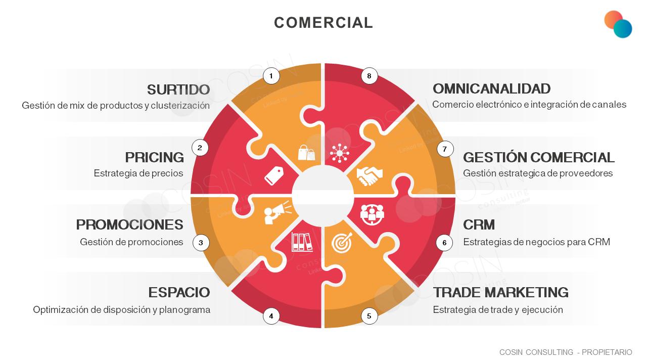 Framework que ilustra las principales penas del área comercial (surtido, pricing, promociones, espacio, trade marketing, CRM, gestión comercial y omnicanalidad).