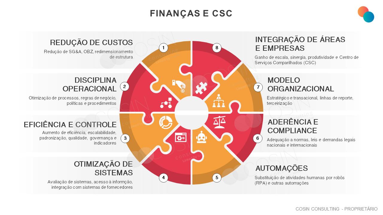 Framework que ilustra as principais dores da área financeira (redução de custos, disciplina operacional. eficiência e controle, otimização de sistemas, automações, aderência e compliance, modelo organizacional e integração de áreas e empresa).
