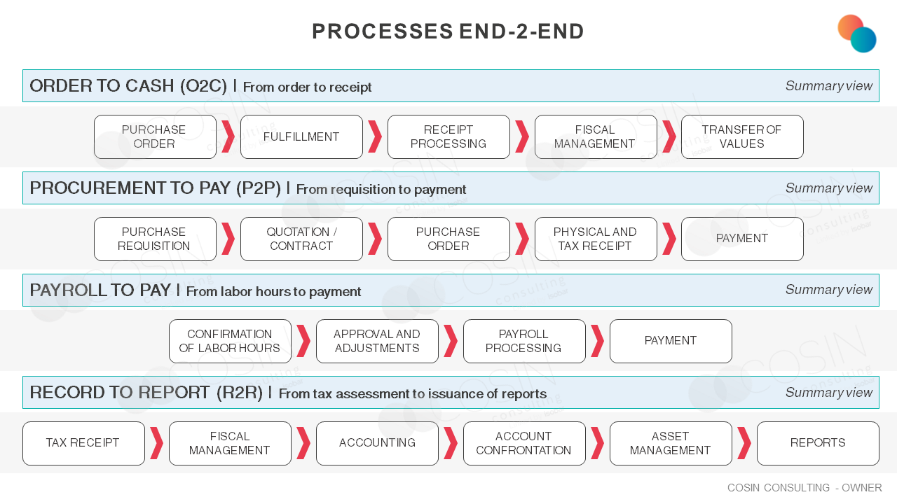 Framework of Cosin Consulting's End-2-end vision on the financial area.