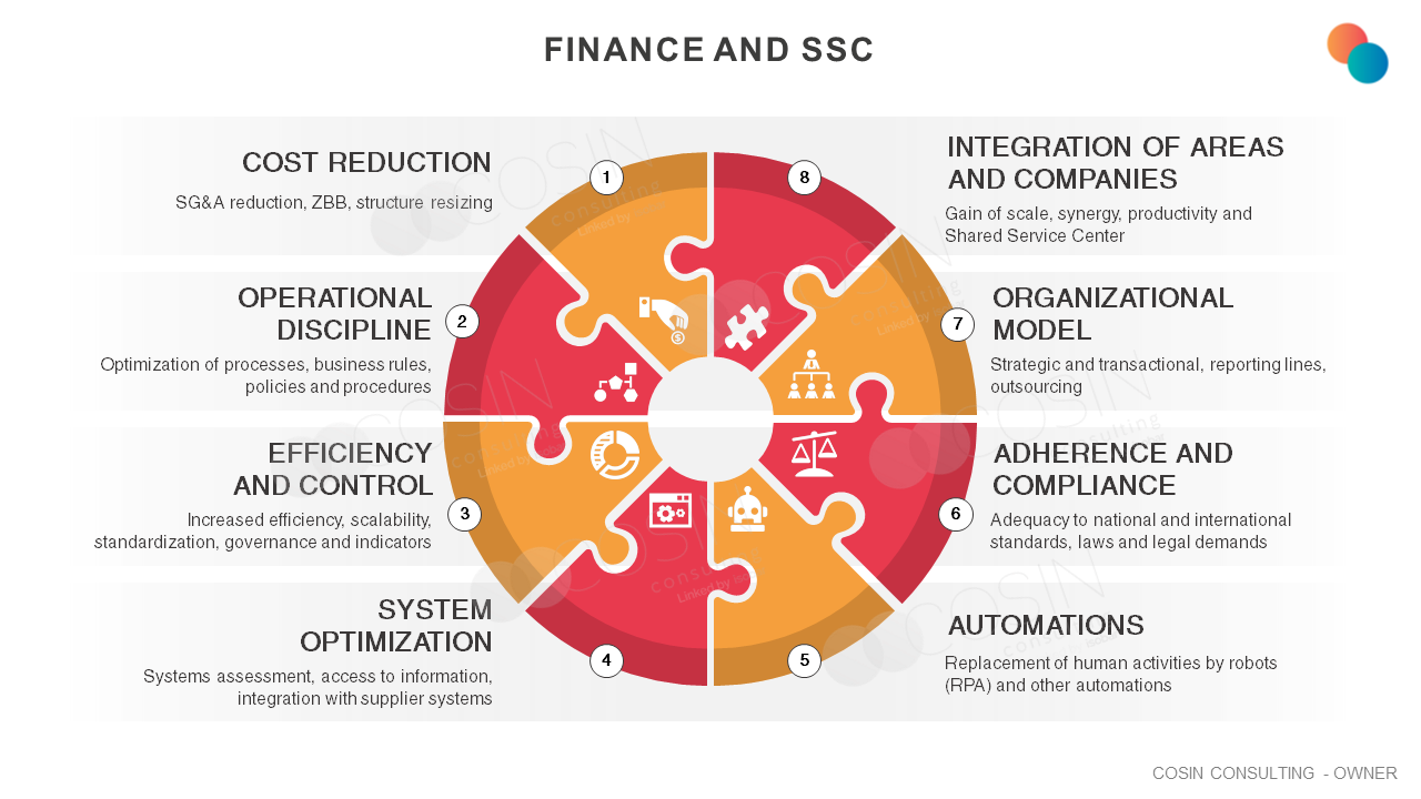 Framework that illustrates the main challenges in the financial area (cost reduction, operational discipline, efficiency and control, system optimization, automations, adherence and compliance, organizational model, integration of areas and companies)