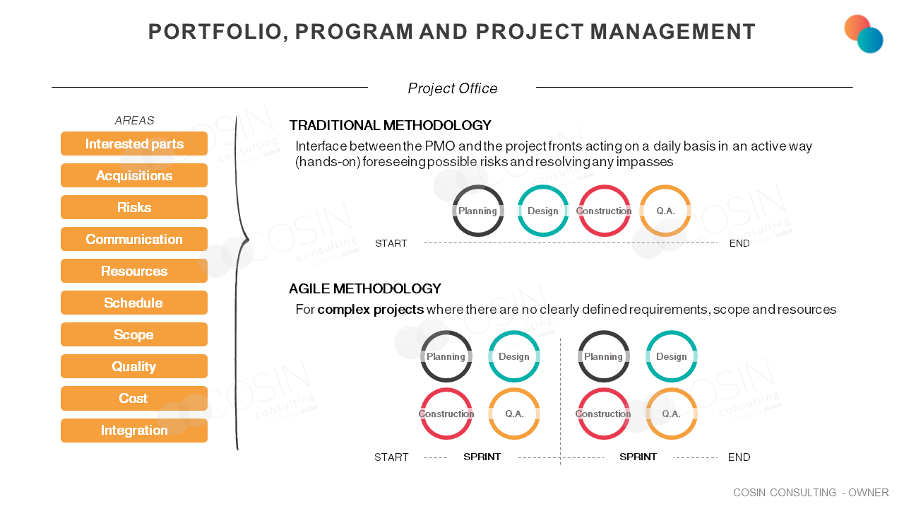 Framework that illustrates Cosin Consulting's vision on Portfolio, Program and Project Management