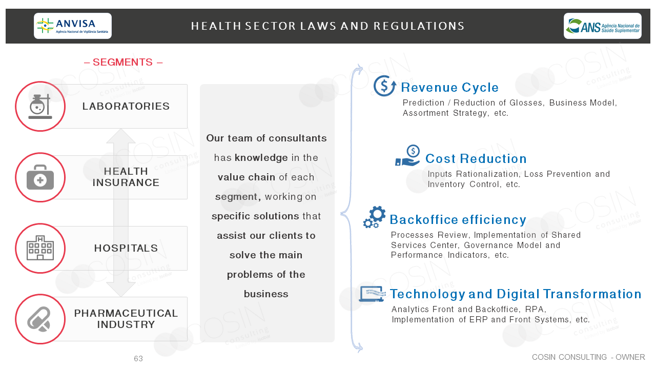 Framework that illustrates Cosin Consulting's vison on the health sector.