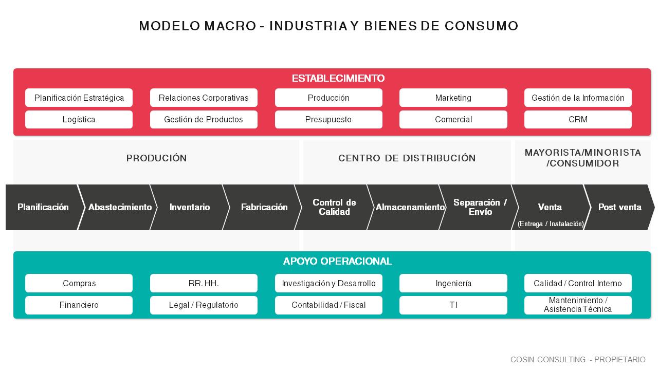 Framework que ilustra la visión de Cosin Consulting de un modelo macro que va desde la industria hasta el consumidor final.