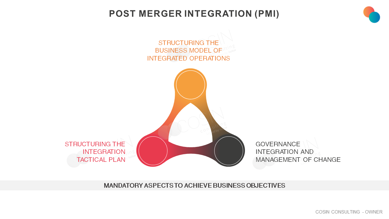 Framework that illustrates Cosin Consulting's approach to the main dimensions of Post-merger Integration (PMI)