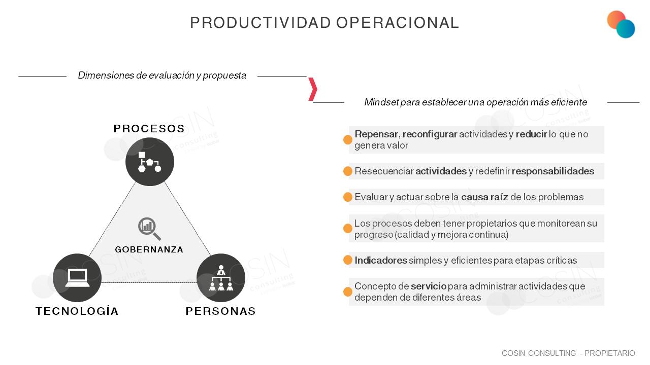 Marco que ilustra la visión de Cosin Consulting sobre productividad operativa