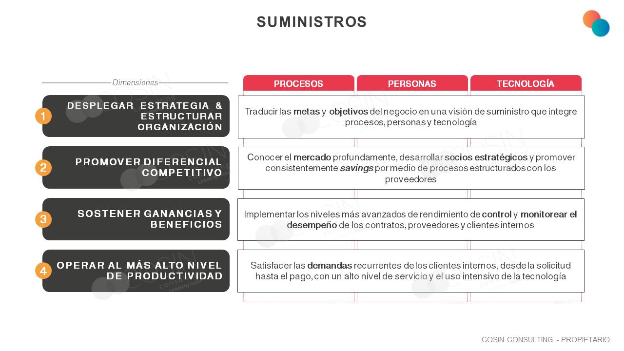 Framework que ilustra la visión de Cosin Consulting sobre sobre los principales objetivos de la Gestión de Suministros