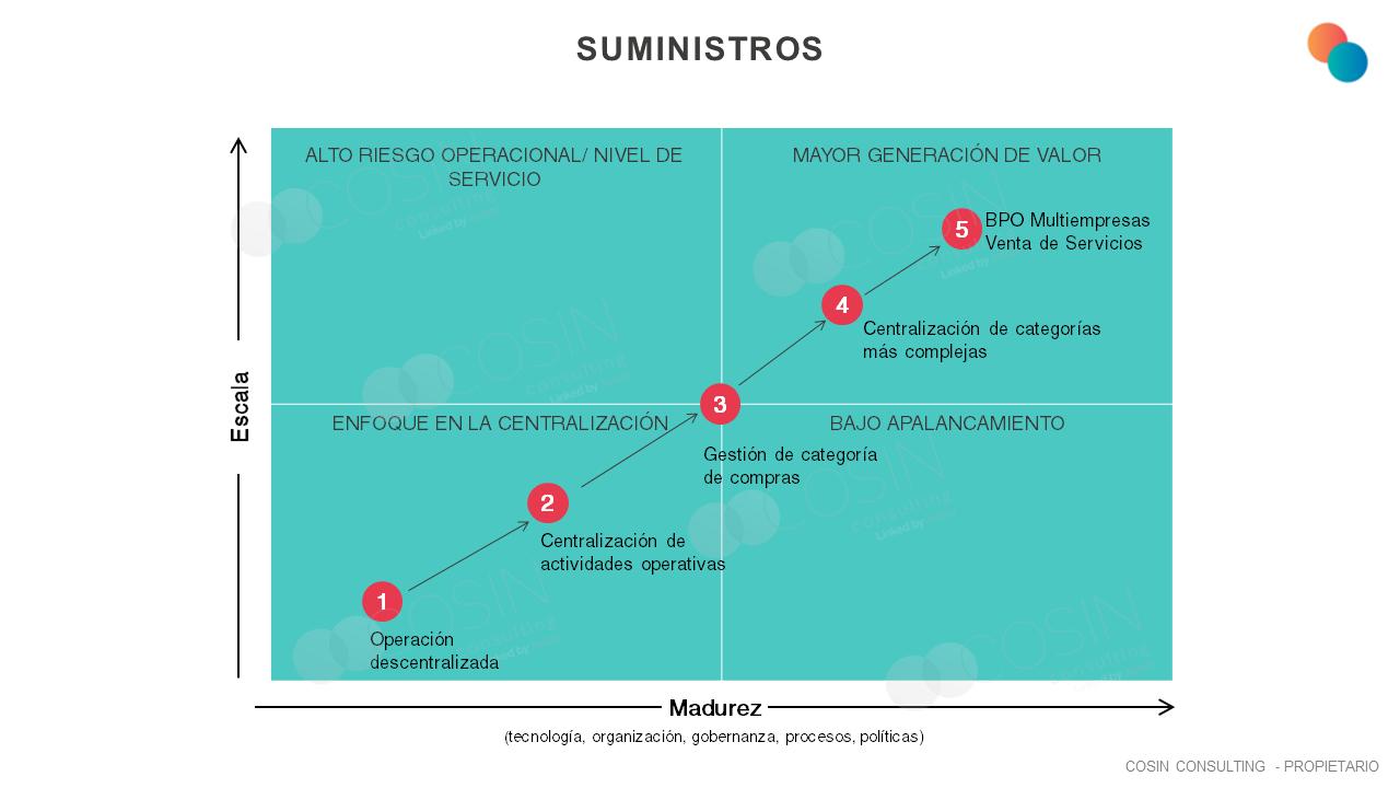 Framework que ilustra la visión de Cosin Consulting sobre la escala de operaciones de Suministros y la madurez del negocio