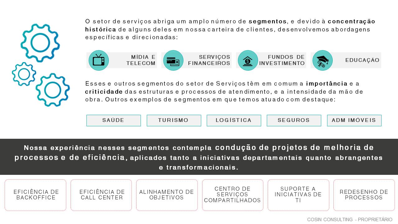 Framework que ilustra a visão da Cosin Consulting sobre Serviços