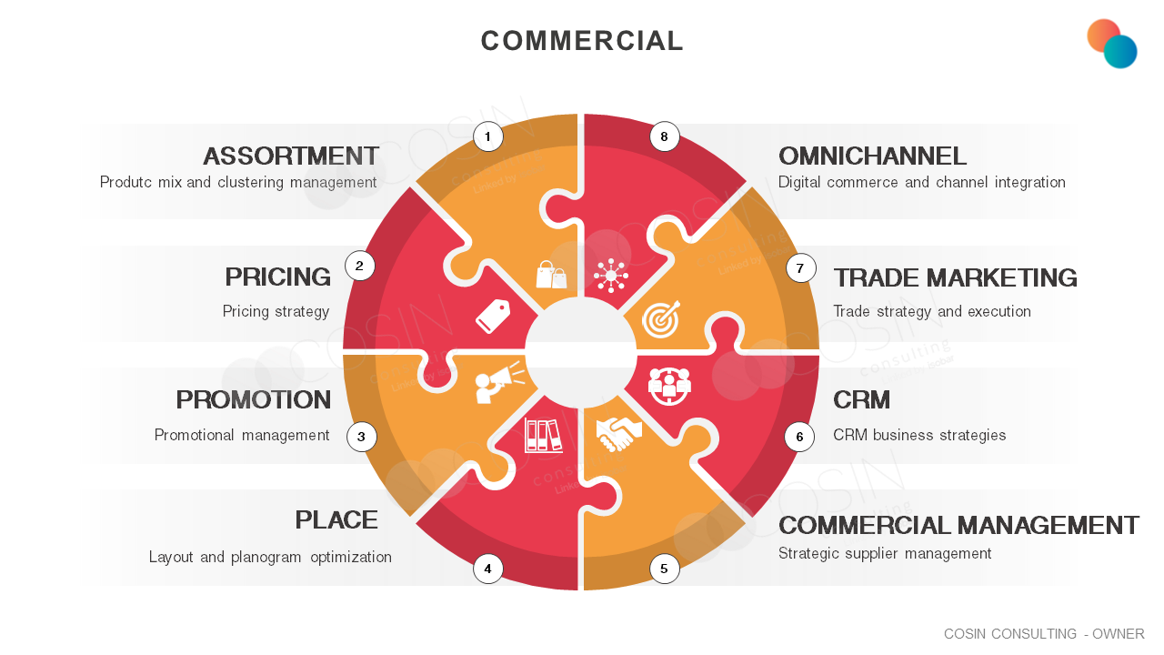 Framework that illustrates the main pains of the commercial area (assortment, pricing, promotion, space, commercial management, CRM, trade marketing and omnichannel)