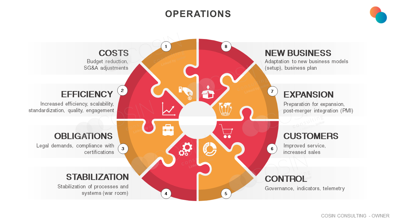 Framework that illustrates Cosin Consulting's vision on Operations