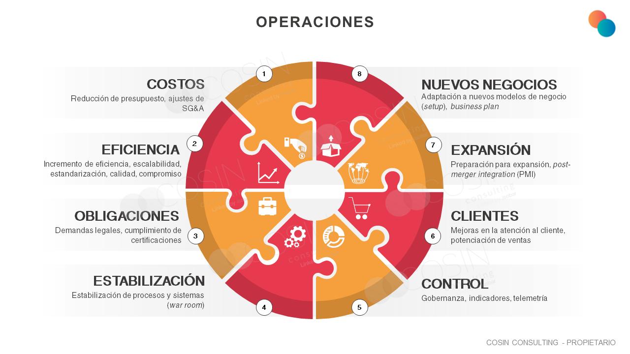 Framework que ilustra la visión de Cosin Consulting sobre operaciones